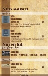 CARTES DES vins maison  fin avec prix modi5