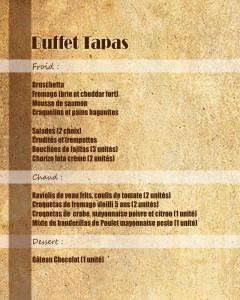 buffet TAPAS sans prix fin